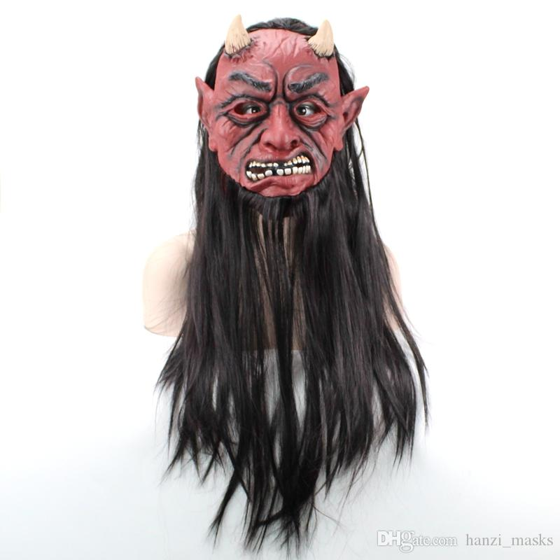 Hanzi_masks Blush Cabelo Comprido Máscara Vampiro Rosto Cheio Látex Adultos Máscaras Chapéu Para Masquerade Halloween Traje Bar Realistic cosplay