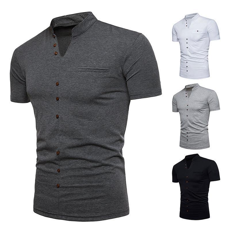 Erkek moda Henry yaka kısa kollu V yaka düğmeleri katı T-shirt yaz yaratıcı yeni stil ceket yarım manşet