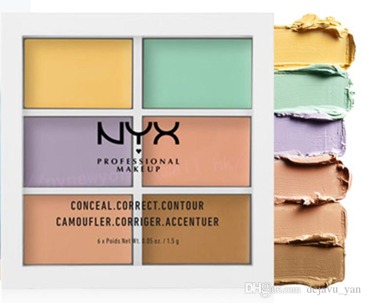 NYX 6 Colors Professional Face Contour Makeup Concealer Palette Concealer foundation brightener make up full cover woman cosmetic