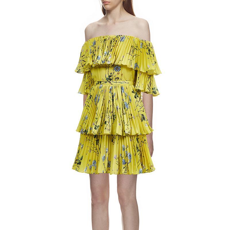 mulheres fora do ombro floral impresso curto vestido de chiffon plissado