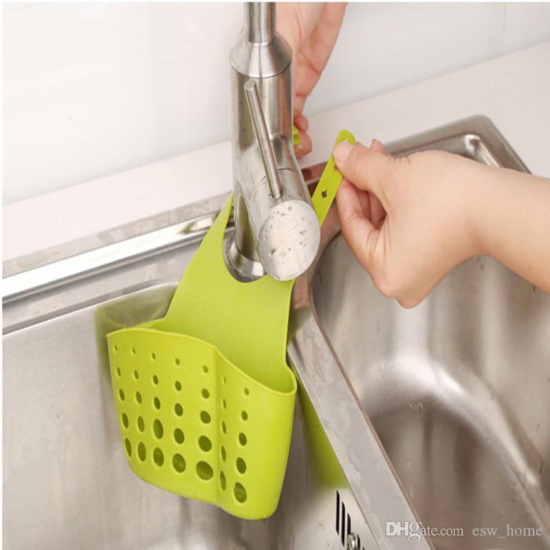 Paniers de rangement créatif panier à linge réglable snap-on évier de stockage suspendu cuisine rack robinet éponge sac de drainage