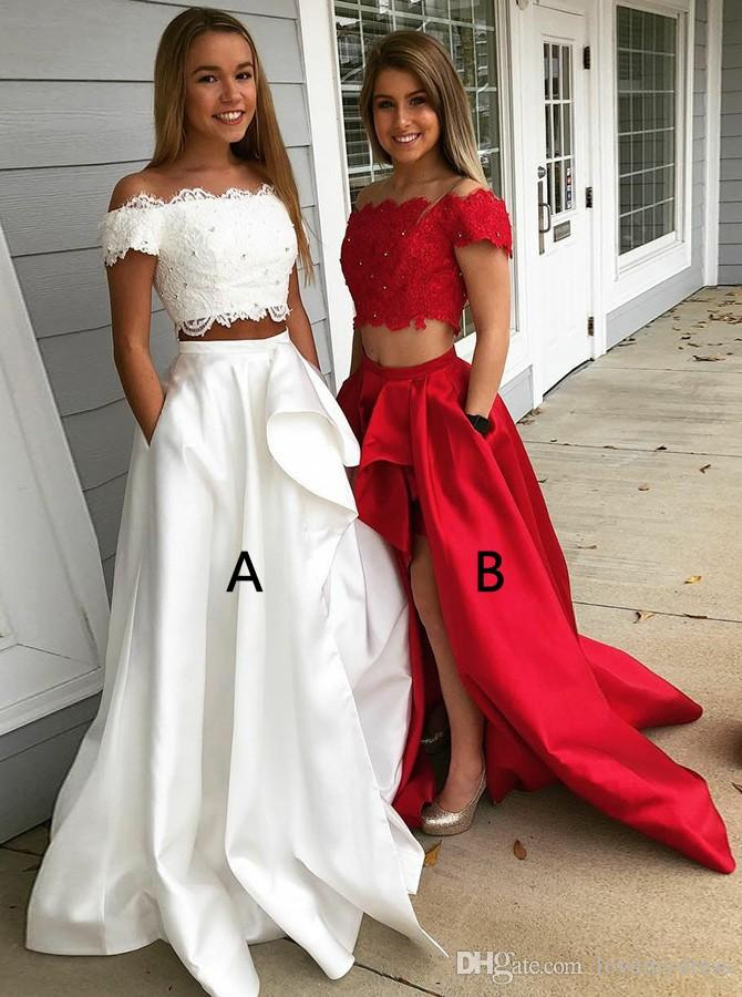 패션 흰색 빨간색 높은 슬릿 댄스 파티 이브닝 드레스 긴 오프 숄더 레이스 아플리케 장식 조각 골치 아픈 셔링이 조각 정장 드레스 새틴