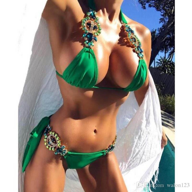 Traje de baño de la moda del verano para las mujeres vendaje atractivo bikini sin respaldo para mujeres deporte traje de baño de las mujeres con el envío libre del diamante