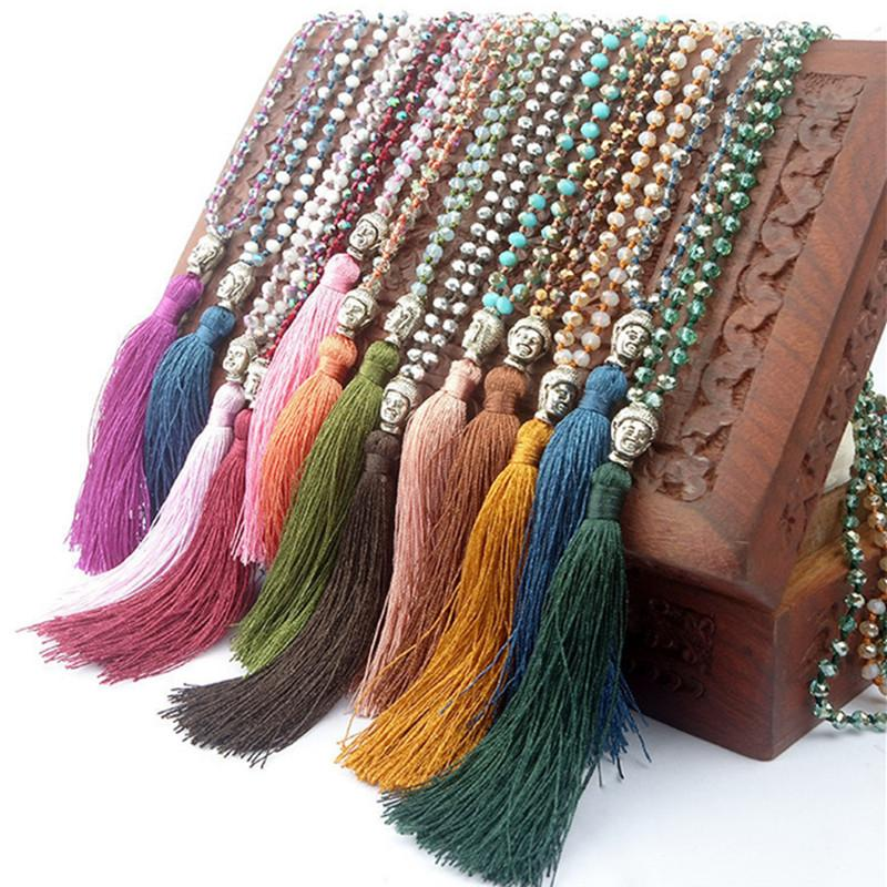 Fashion Women Necklaces 925 Silver Buddha Pendant Glass Beads Crystal Long Tassel Bohemia Necklace Jewelry Gift
