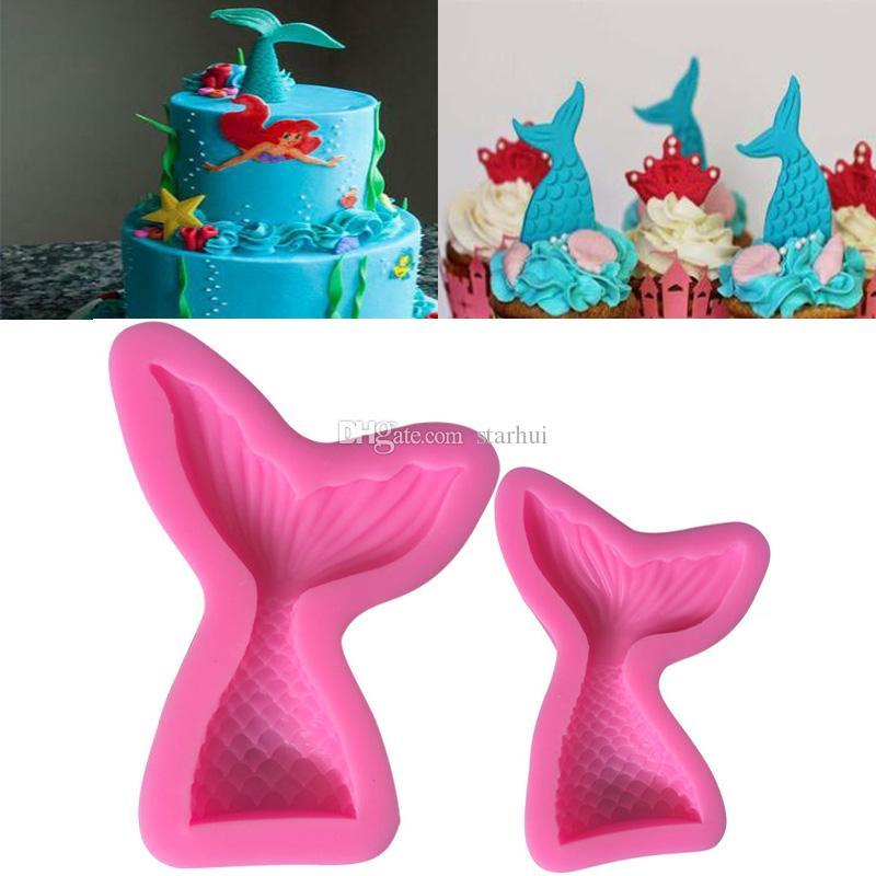جديد حورية البحر شكل القالب الوردي سيليكون قالب ل كعكة الشوكولاته الخبز كاندي صانع diy كعكة صابون أدوات المطبخ خبز WX9-457