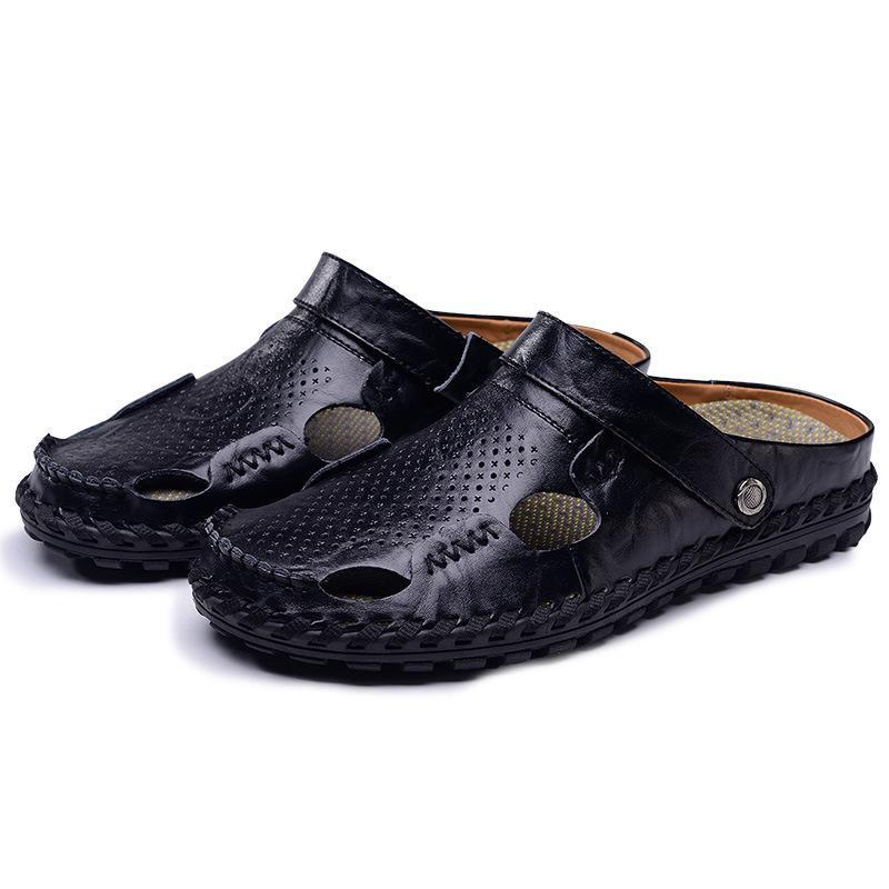 Hot 2018 Big Size Men's Sandals Summer British Fashion Man Genuine Leather Beach Shoes Men Massage Non-Slip Large Slippers Flats
