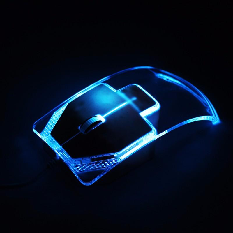 Transparent Wired Mouse Optical Colorful LED Light Mice For Laptop Desktop PC
