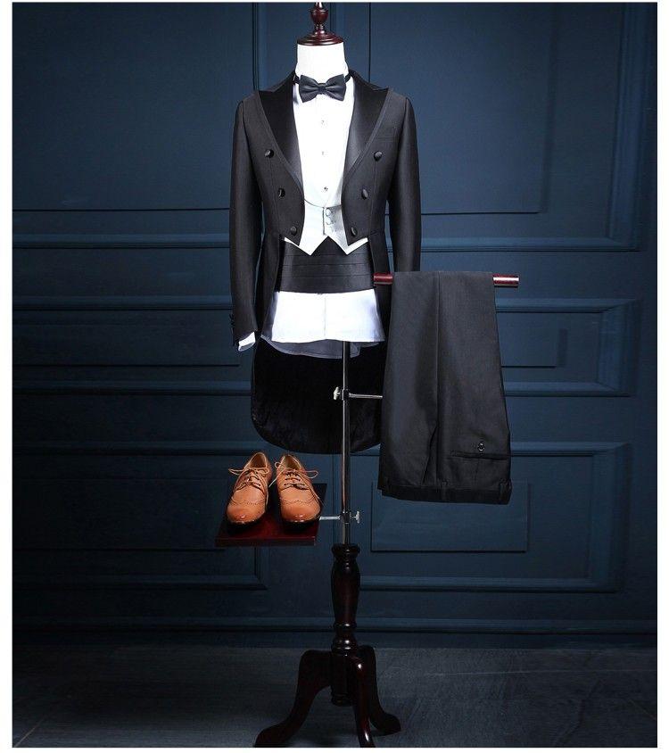 2018 Nouvelle Arrivée Classique Brillant Noir Queue Manteau Marié Smokings Garçon D'honneur Costume De Mariage Fait Sur Mesure Costumes Tailcoat (Veste + Pantalon + Gilet + Arc