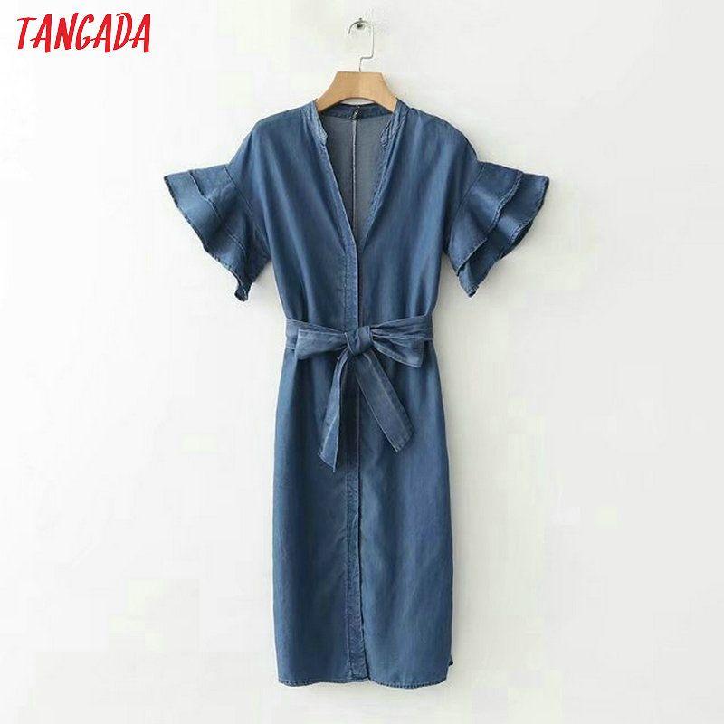 Tangada Stickerei Denim-Kleid-Frauen-Weinlese-Sommer-Jeans-Kleid buerfly Hülse Schärpen kleidet beiläufige Vestidos Female XD196