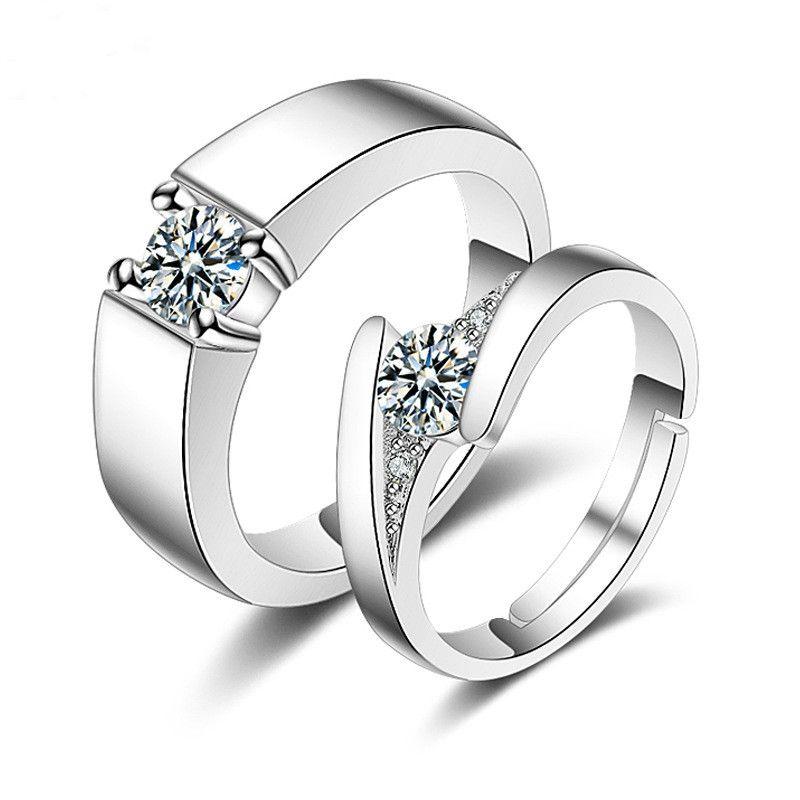 Pareja Anillos Amantes Anillo de bodas de diamante ajustable Propuesta Anillo de moda para hombres y mujeres Venta caliente