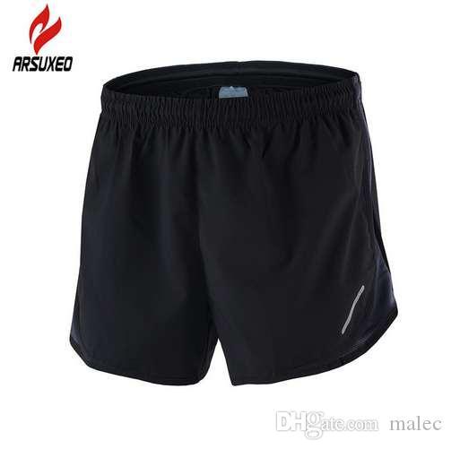 ARSUXEO 2-en-1 maratón corriendo pantalones cortos hombres transpirable de secado rápido entrenamiento gimnasio atlético gimnasio deportes pantalones cortos con bolsillo de la cremallera