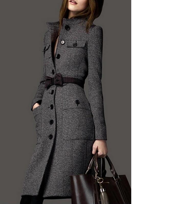 Imc الصوف الإناث قميص حار جديد 2016 تصميم طويلة ضئيلة تويد معطف الكشمير الشتاء ملابس النساء المنسوجة معطف الشتاء معطف المرأة S18101302