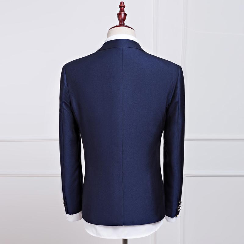 2017 новые весенние и осенние мужские свадебные темно-синие костюмы, мужские пиджаки, мужские деловые костюмы, мужские костюмные костюмы (куртка + брюки + жилет)