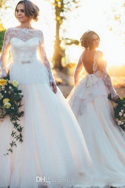 Элегантные длинные рукава страна свадебные платья с кружевной пояс лук Сексуальная спинки длина пола плюс размер свадебное платье Vestido