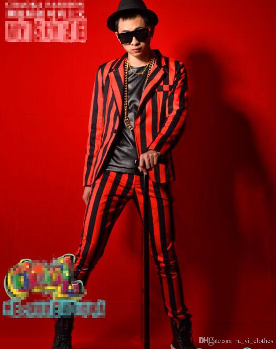 Edición de hombre de la nueva personalidad de la moda cantante de la barra del ancla trajes de baile vestido blazer a rayas rojo y negro M - 2xl