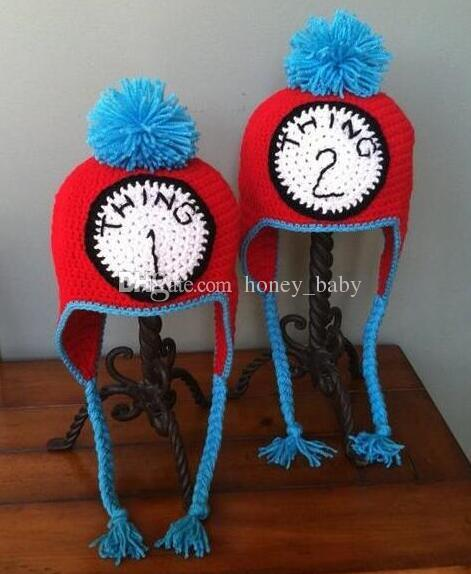 Thing 1 Thing 2 Twin Set Crochet Knitted Hat Baby Boys Girls Winter Christmas Gift Caps Newborn Infant Toddler Children Beanie 100% Cotton