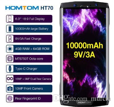 10000mAh HOMTOM HT70 Fingerprint Mobile Phone 4GB 64GB 6inch 18:9 Full Display 13MP Front 16MP+5MP Dual Rear Camera Smartphone