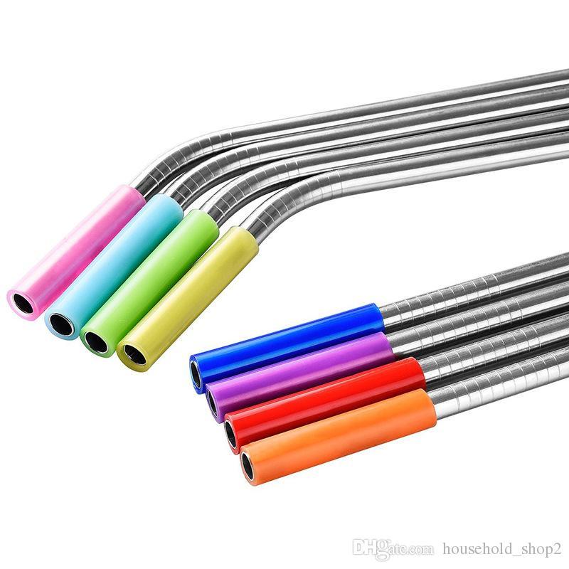 تغطي 2020 نصائح للسيليكون قطر 6MM الفولاذ المقاوم للصدأ القش 8 ألوان غطاء القش قابلة لإعادة الاستخدام منع تأثير الأسنان