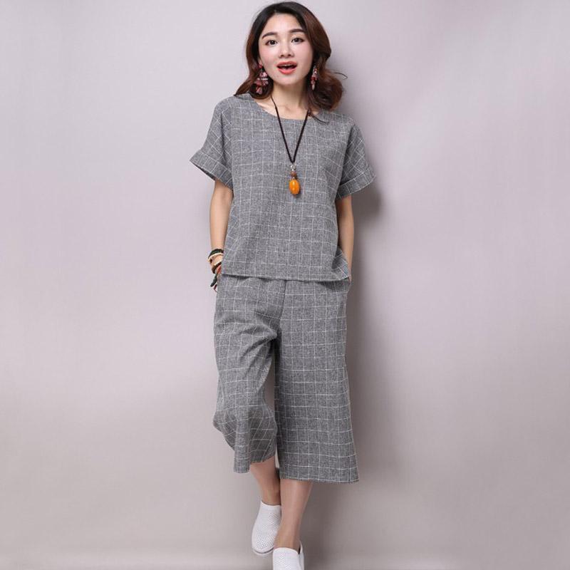 estate primavera autunno abbigliamento donna più grande formato femminile coon vestiti di lino gamba larga pantaloni 2 pezzi set formale