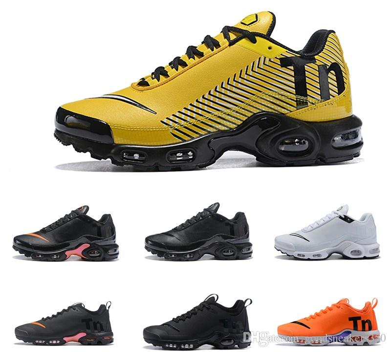 low priced 89c23 7baf6 2018 Top Air Mercurial Plus Tn Ultra SE Black White Orange Running Shoes  Outdoor TN Shoes Women Mens Maxes Trainers Outdoor Sneakers 36 45 Cheap  Shoes ...