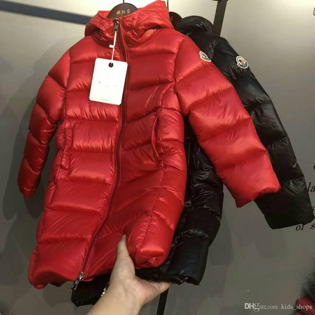 2 Color Girls 2018 Winter Down jakcet M Down Coat Hooded Waist 90% Thick Duck outerwear children's Warm Clothes for Parkas With Dust Bag