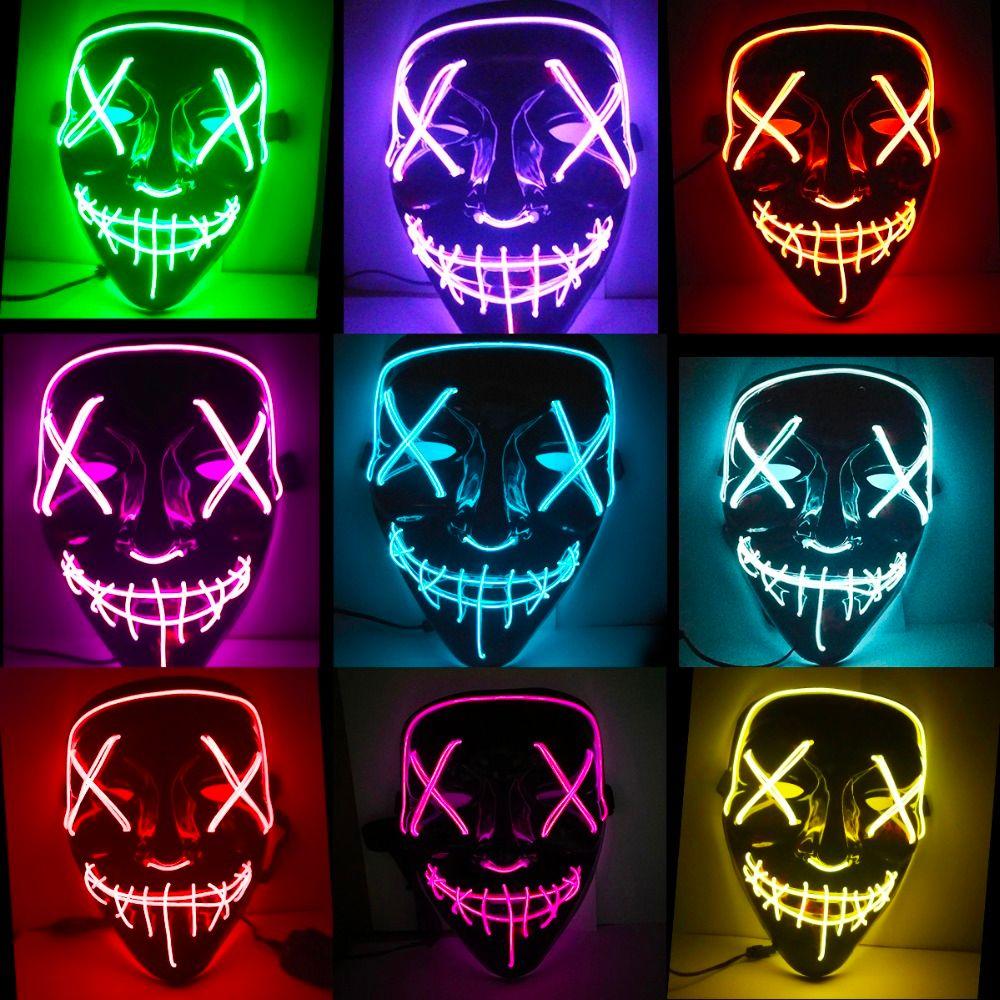 할로윈 마스크 LED가 빛나는 카니발 파티 호러 가면 퍼지 선거의 해 재미있는 마스크 축제 코스프레 의상 용품 어둠 속에서 글로우