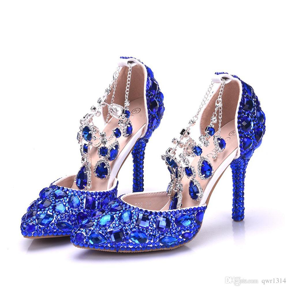 Grosshandel New Fashionl Sexy Spitze Schuhe Fur Frauen Blau Kristall High Heel Schuhe Dicke Fersen Schone Strass Plus Size Schuhe Von Qwr1314 60 31