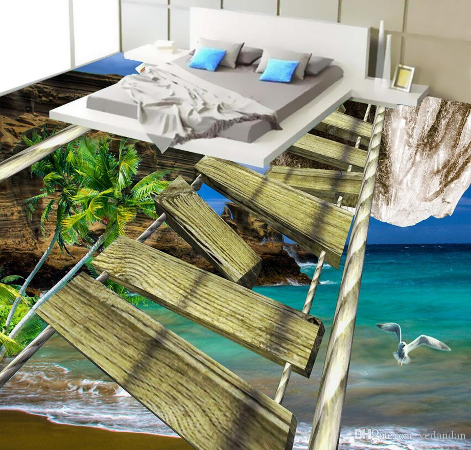 Роскошь 3d пол живопись обои на заказ 3d пол водонепроницаемый клей пол обои Деревянный мост приморские пейзажи рулонные полы фрески