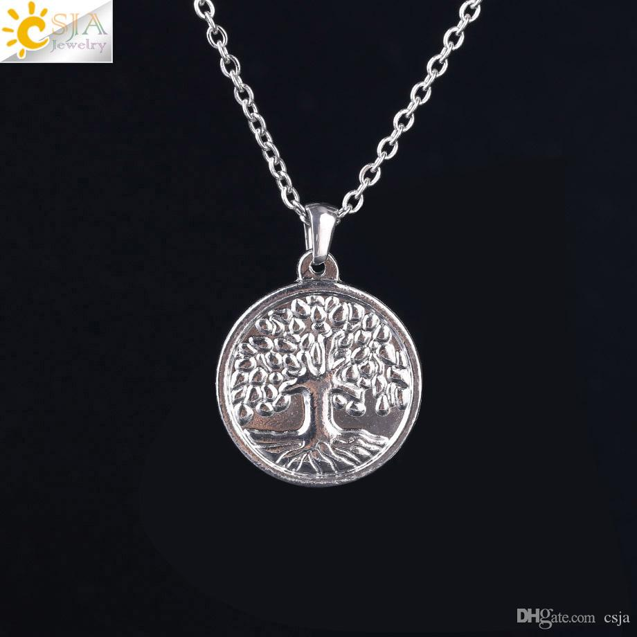 CSJA Men Women Coin Necklaces Sterling Silver Color Wisdom Tree of Life Pendant Charms Stainless Steel Faith Jewelry Fast Shipping S115 C