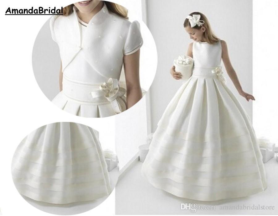 Vestido de bola de Amandabridal Blanco Primera comunión Vestidos para niñas con chaqueta Vestidos de flores de satén Vestidos de boda 2021