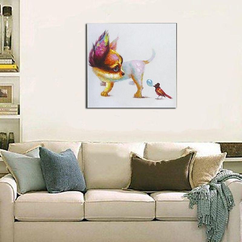 Artesanais Imagem Da Arte Da Parede Da Lona Abstrata Pinturas Animais Bonito Cão e Pássaro Pintura A Óleo Dos Desenhos Animados Crianças Decoração do Quarto sem moldura