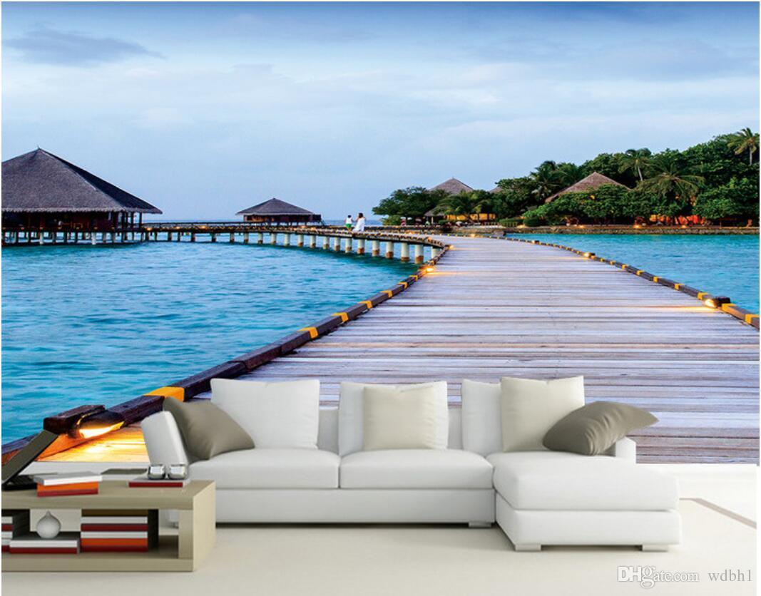 Benutzerdefiniertes Foto für 3D-Tapeten Vliestapete Seaside Maldives Küstenlandschaft Mediterraner Hintergrund Tapeten für Wan ... 3 d