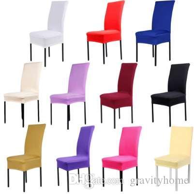 2018High kaliteli Ev Sandalye Örtüsü düğün dekorasyon Katı Renkler Polyester Spandex Düğün Için Yemek Sandalyesi Kapakları 1 adet
