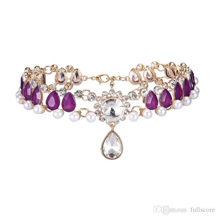 Luxury Full Rhinestone Imitation Pearl choker Crystal statement necklace Women Chockers Chunky Necklace Collier Wedding Jewellery Gift