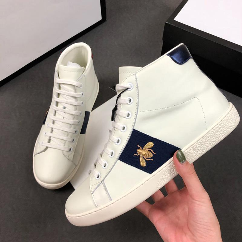 2019 Mens Designer Luxury Casual Shoes Ace Sneaker Triple nero bianco in pelle High Top donne designer di moda scarpe con la scatola