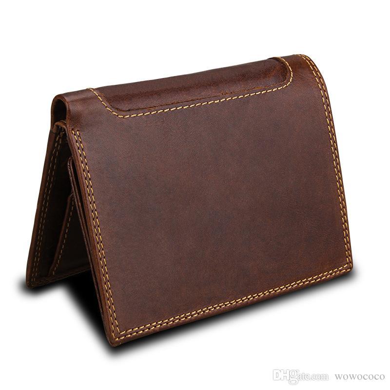 Кредит большие карточные сумки натуральные кожаные кошельки протектор карты старинные мужские монеты коровьей 10 новой держатель Трифольд емкость коричневый W111 Dswjh