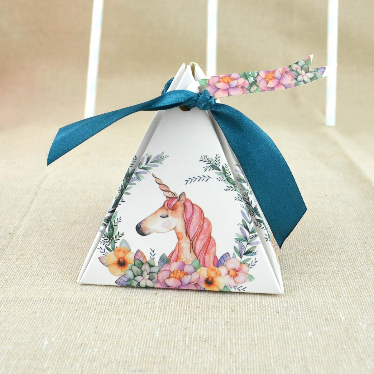 새로운 유니콘 사탕 상자 결혼식 호의 상자 크리스마스 선물 상자 회전 목마 피라미드 팁 설탕 상자 베이비 샤워 파티 장식