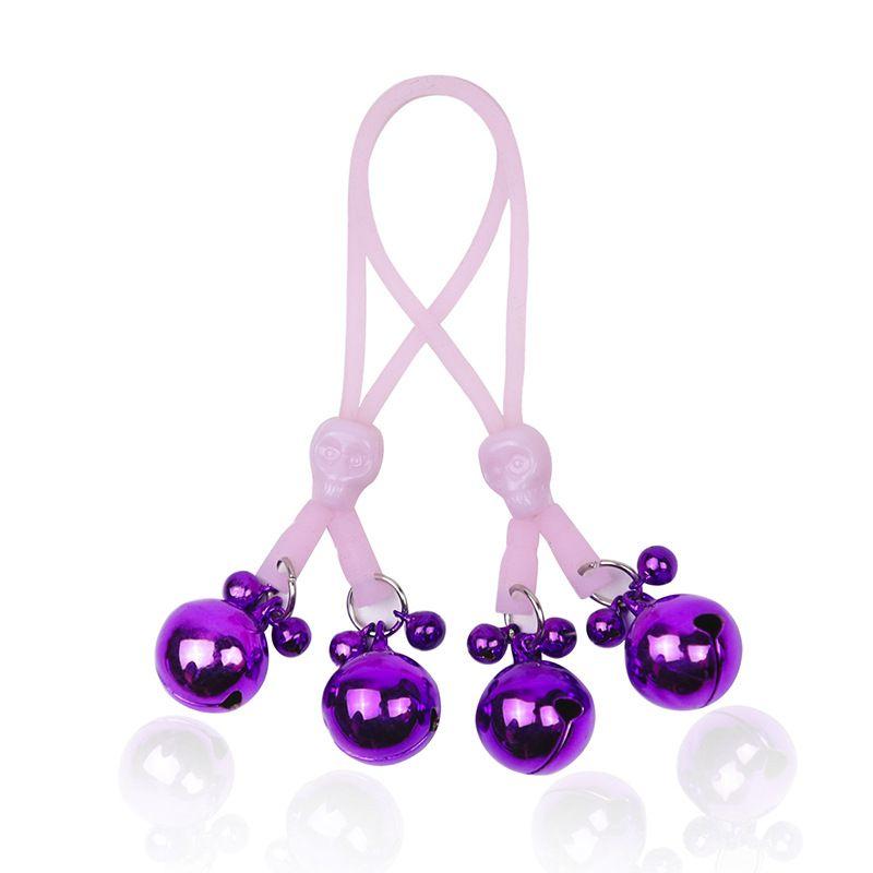 BDSM Bondage Toys Clitoride Clit Nipple Clamps Set Teschio regolabile con corda luminosa Campane in metallo Giocattoli adulti per donne