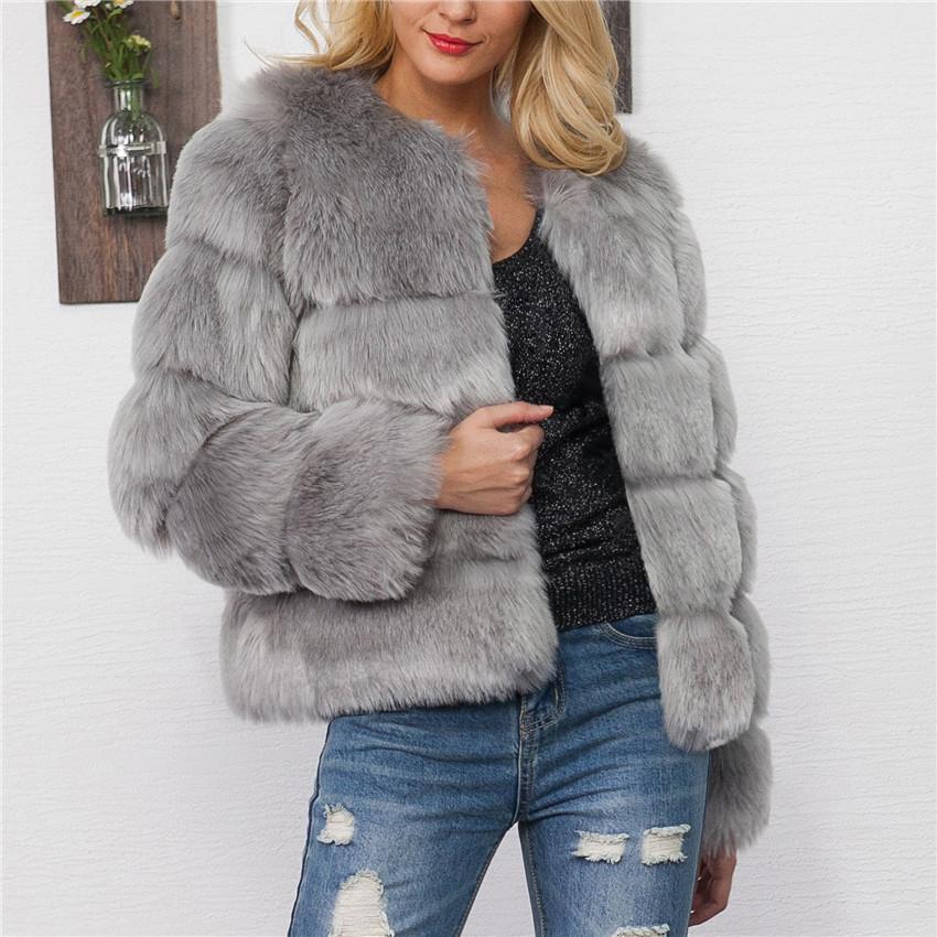 LANSHIFEI 2018 새로운 디자인 가짜 모피 코트 겨울 따뜻한 두꺼운 솜 자켓 여성 외투 여성 모조 모피 파카 코트
