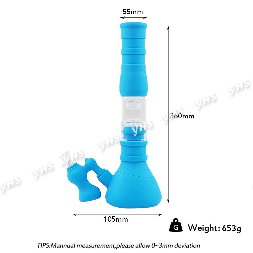Base Beaker Bongs de silicona Tubos de agua 3 Filtración Filtro de vidrio Bowl Silicone Oil Oil Dab Rig for Fumar con Catcher DHL Envío gratis