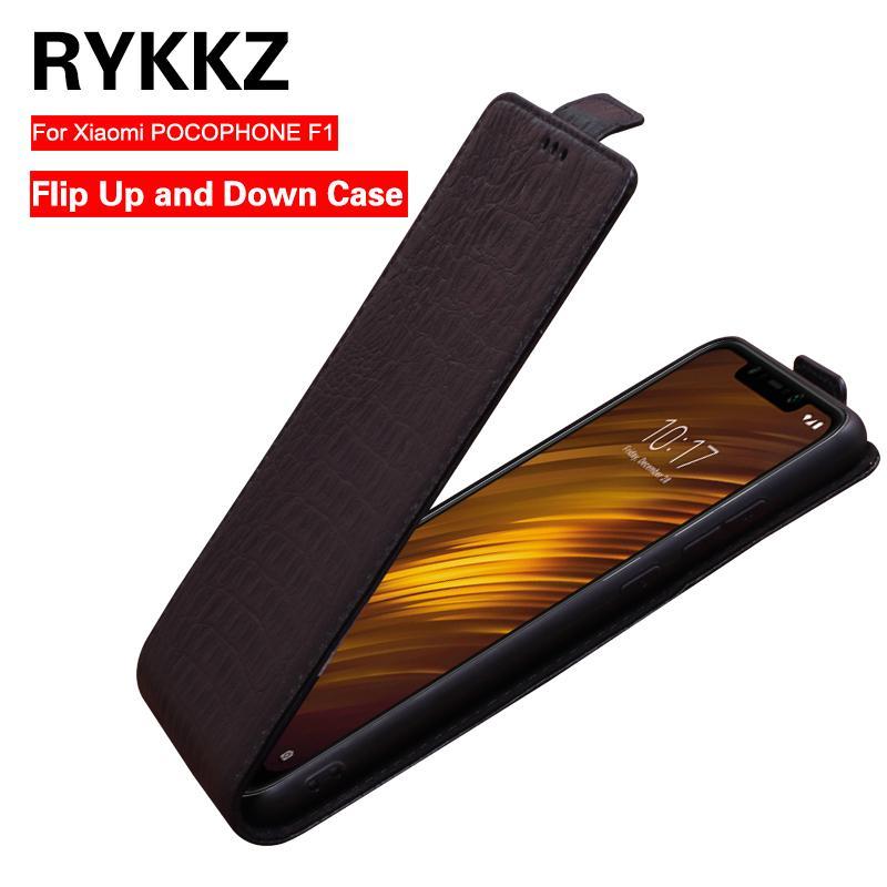 도매 정품 가죽 플립 Xiaomi F1에 대 한 Xiaomi POCOPHONE F1 휴대 전화 스탠드 케이스 가죽 커버에 대 한 위아래로 케이스 커버
