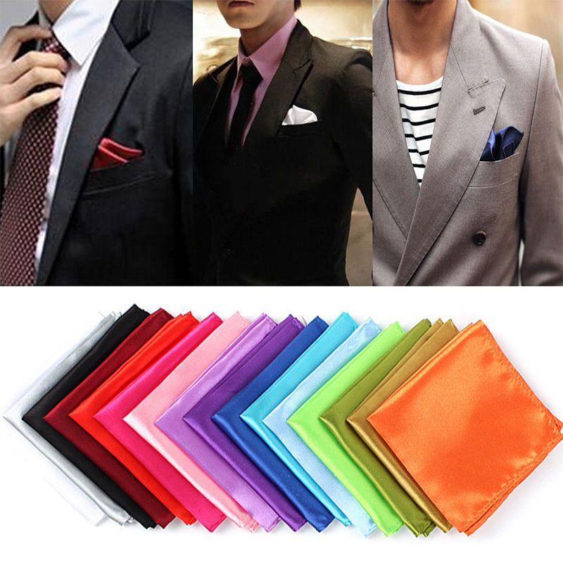 1 unid Hombres Seda Satén Bolsillo Pañuelo cuadrado Hanky Liso Color sólido Accesorios para banquetes de boda 15 colores