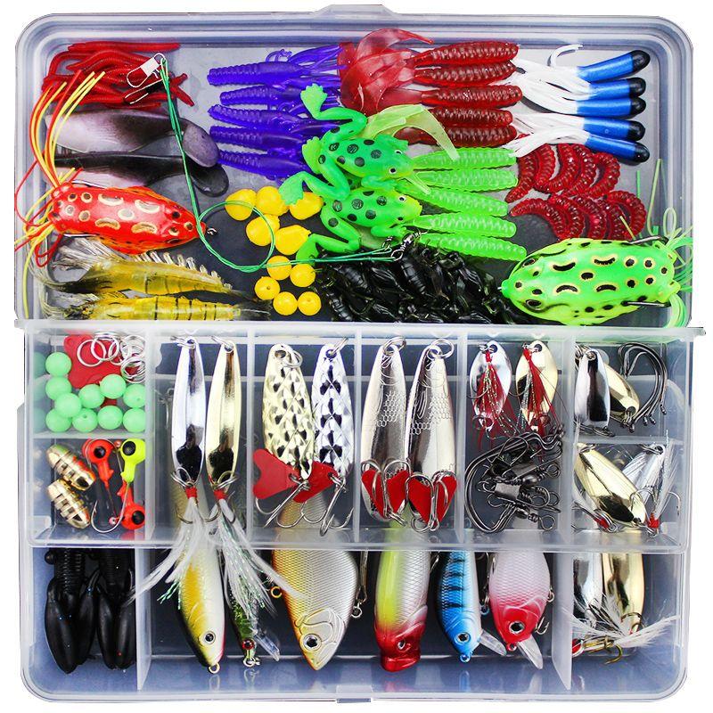 141Pcs Universal Fishing Lure Set Hard Soft Bait Popper Crankbait VIB Hook All Water Depth Fishing Pesca Peche