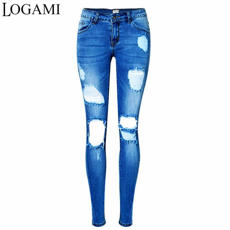 vente en gros déchiré jeans pour femmes Sexy Jeans Maigre Elasitc Femme Slim Crayon Pantalon Jean 2018
