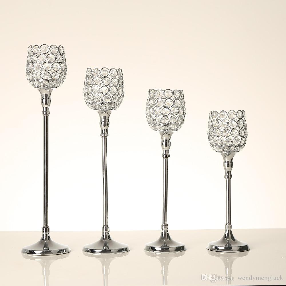 Silver Crystal Pillar Candle Tealight Holders Metal Glass Candlesticks Birthday Gift Wedding Table Home Party Centerpieces Home Decoration