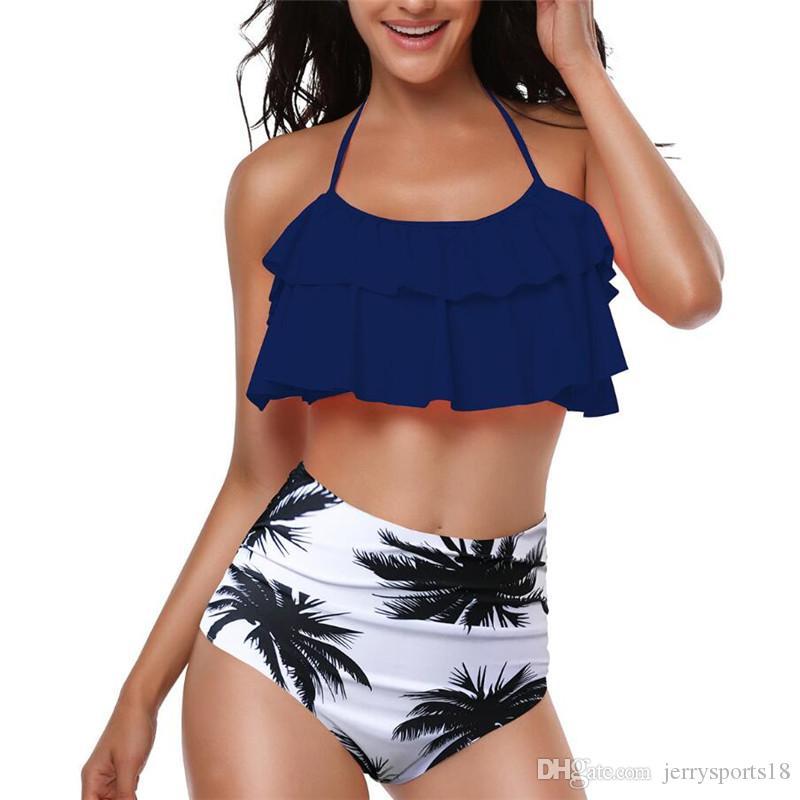 Nuevo verano de las mujeres de talle alto del hombro con volantes del volante del volante de cultivos Bikini Top de los bañadores del traje de baño del traje de baño de deportes acuáticos de la playa