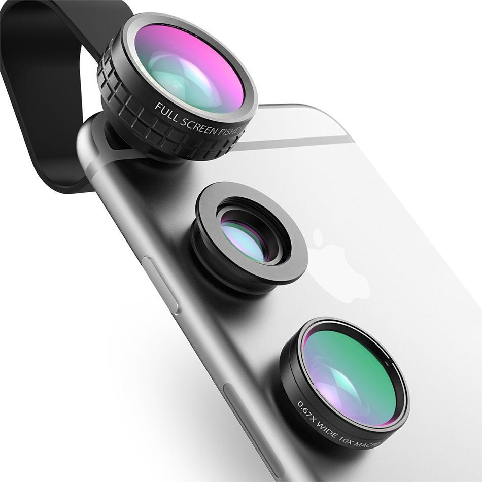 الجملة عين السمكة عدسة 3in 1 كليب على كاميرا الهاتف الخليوي 180 درجة فيش عدسة + زاوية واسعة + عدسة ماكرو آيفون 7 زائد ل xiaomi