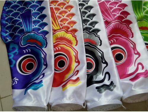 40cm Koinobori Japanese Carp Wind Sock Koi Nobori Anime Fish Flag Kite Black