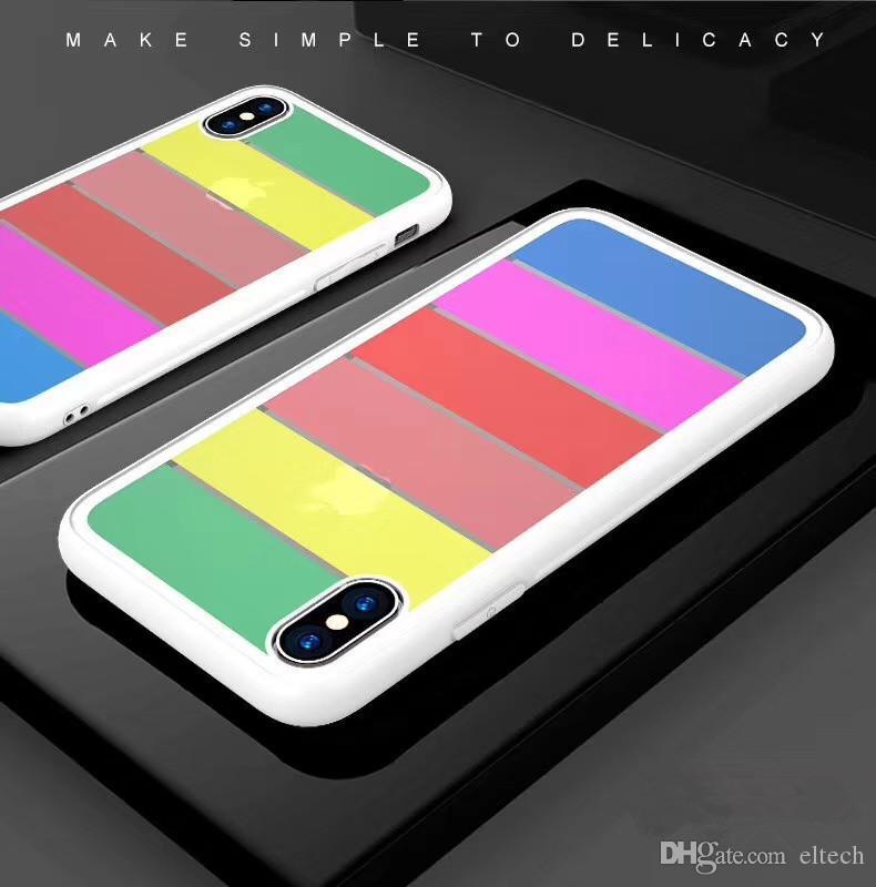 Caso MANCANZA colore della caramella in marmo della cassa del telefono per l'iphone X per l'iphone 8 8plus divertente Geometria Splice Labbra caso del modello del rossetto del modello del telefono