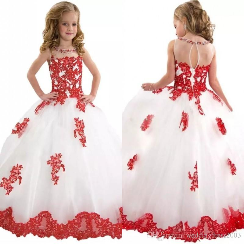 2018 Winter Formal Little Girls Pageant Dresses Sheer Crew Neck Ball Gown Full Length Lace Appliqued Tulle Prom Dresses for Pageant Girls